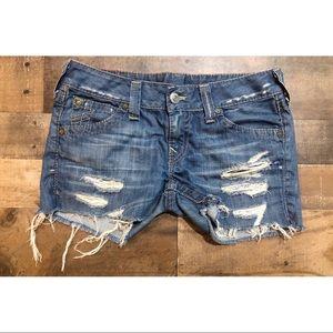 True Religion Distressed Cut Off Shorts - Sz 30